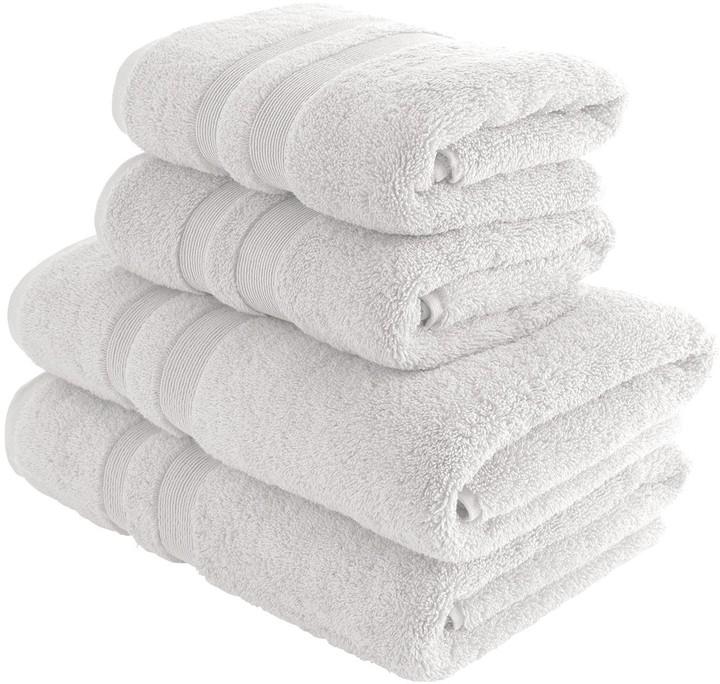 Spa Cotton White double border set of 4 towels