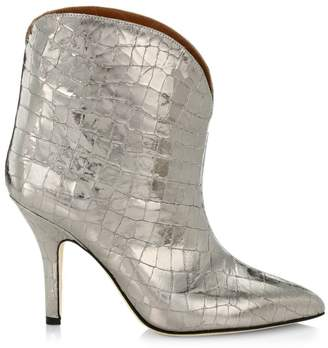 Paris Texas Metallic Coconut Croc-Embossed Leather Ankle Boots