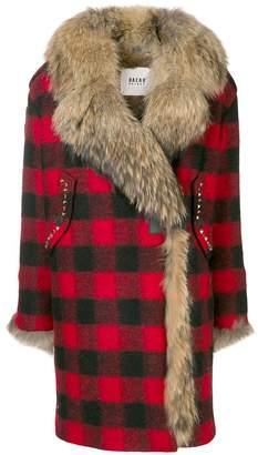 Bazar Deluxe racoon fur-lined checkered coat