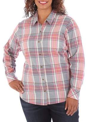 Lee Riders Women's Plus Casual Long Sleeve Woven Shirt
