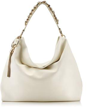 Jimmy Choo CALLIE/L Latte Calf Leather Slouchy Shoulder Bag with Gold Chain Strap