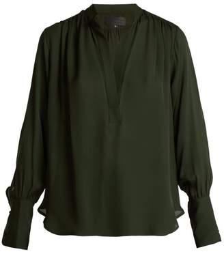 Nili Lotan - Collette Silk Blouse - Womens - Dark Green
