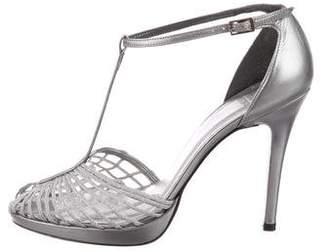 Stuart Weitzman Leather Peep-Toe Sandals
