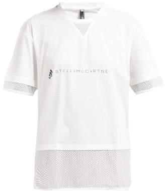 adidas by Stella McCartney Logo Print Cotton Blend T Shirt - Womens - White
