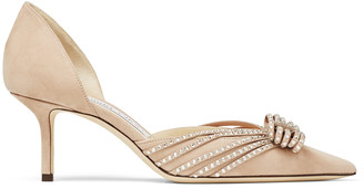 Jimmy Choo KAITENCE 65 Ballet-Pink and Silver Suede Kitten-Heel Pumps with Crystal-Embellished Hotfix Bow