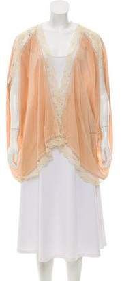 Winter Kate Silk Lace-Trimmed Cardigan