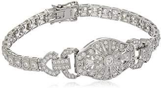 Swarovski Platinum Plated Sterling Antique Zirconia Baguette Round Bracelet