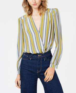 ASTR the Label Quin Striped Surplice-Neck Bodysuit