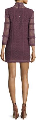 LoveShackFancy Gia Crochet Lace Long-Sleeve Babydoll Dress