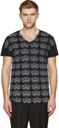Ann Demeulemeester Black and Pale Grey Floral Print V-Neck T-Shirt
