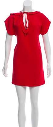 Miu Miu Short Sleeve Mini Dress Red Short Sleeve Mini Dress