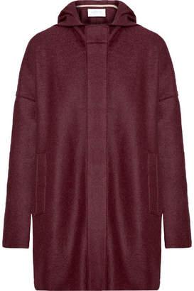 Harris Wharf London Hooded Wool-felt Coat - Burgundy