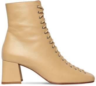 BY FAR 60MM BECCA LACE-UP LEATHER BOOTS