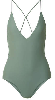 Dion Lee Fine Knot Swimsuit - Gray green