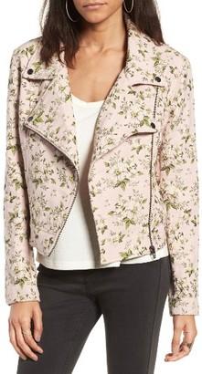 Women's Blanknyc Floral Jacquard Moto Jacket $148 thestylecure.com