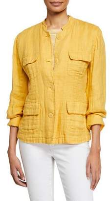 Eileen Fisher Button-Front Double-Weave Cotton Jacket w/ Pockets, Petite