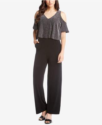 Karen Kane Cold-Shoulder Sparkle-Knit Jumpsuit