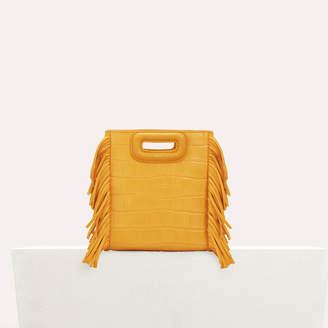 Maje Mini M bag with crocodile fringe