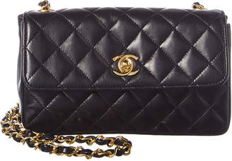 Chanel Black Lambskin Leather Mini Single Flap Bag