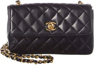 Chanel Black Lambskin Leather Mini Single Flap Bag