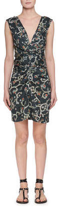 Etoile Isabel Marant Carla Plunging Sleeveless Printed Satin Dress