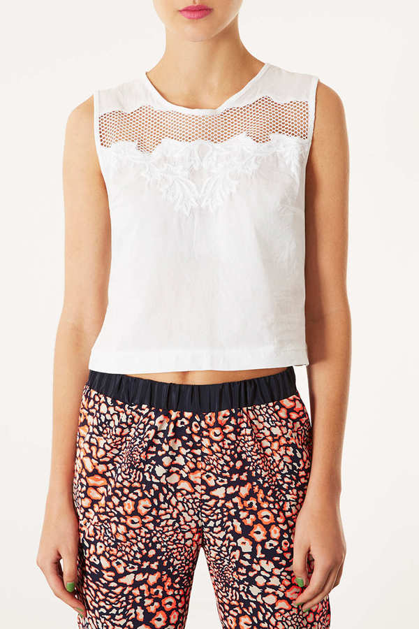 Topshop Petite Embroidered Crop