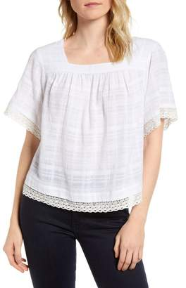 Vince Camuto Square Neck Lace Trim Blouse