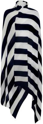Willow Cashmere - Cashmere Extra Large Dark Navy & Ivory Stripe Wrap