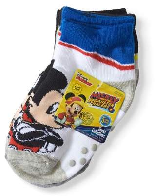 Disney Mickey Mouse Baby Toddler Boy Racing Stripe Quarter Socks, 5-pack
