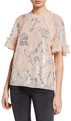 Needle & Thread Floral Gloss Ruffle Tulle Sequined Top