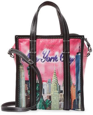 Balenciaga Bazar Xs New York Leather Shopper Tote