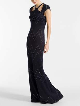 St. John Metallic Knit Halter Neck Gown