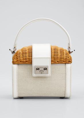 Rodo Wicker and Linen Box Top Handle Bag