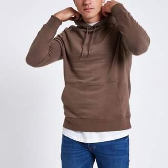 River Island Mens Dark pink long sleeve hoodie