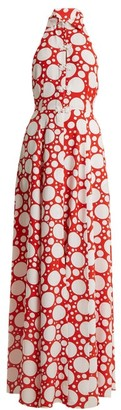 Rebecca De Ravenel Fortuna Polka Dot Print Crepe De Chine Dress - Womens - Red Multi