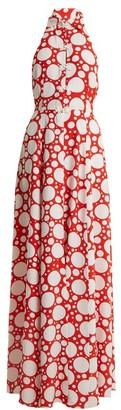 Rebecca De Ravenel Fortuna Polka Dot Print Crepe De Chine Dress - Womens - Red Multi