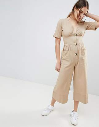 Asos (エイソス) - ASOS DESIGN Cotton Tea Jumpsuit With Horn Button Detail
