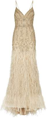 Jovani Crystal-Embellished Feather Gown