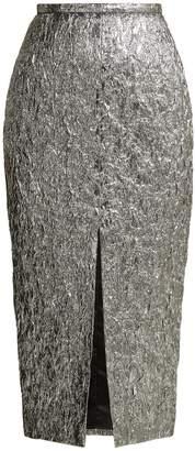 Rochas Slit-front metallic-bouclé foil-effect midi skirt