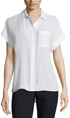 A.N.A Short Sleeve Button-Front Top