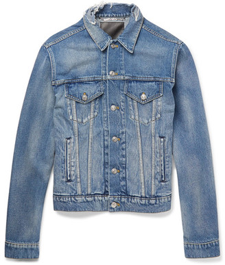 Balenciaga Trucker Slim-Fit Embroidered Distressed Denim Jacket $995 thestylecure.com