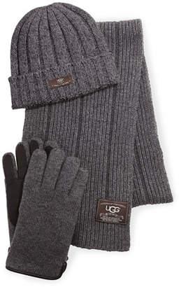 UGG Calvert Ribbed Knit Three-Piece Set, Gray