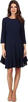 Donna Morgan Women's 3/4 Sleeve Novelty Dress with Asymmetrical Hem $77.99 thestylecure.com