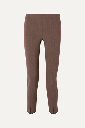 The Row Sorocco Cropped Stretch-wool Skinny Pants - Brown