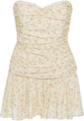 LoveShackFancy Elise Strapless Floral Mini Dress