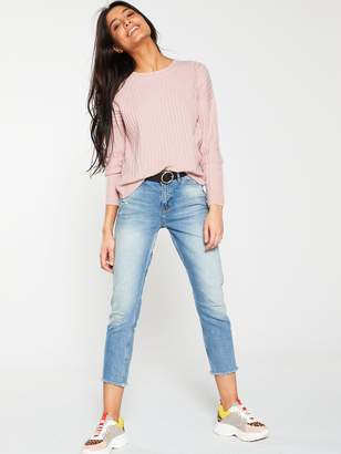 Very Crew Neck Pointelle Detail Rib Jumper - Pink