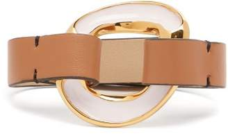 Marni Leather And Enamel Bracelet - Womens - Pink