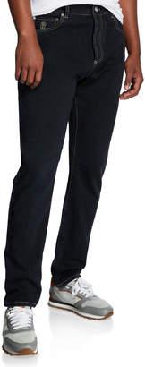 Brunello Cucinelli Men's Contrast-Topstitched Leisure-Fit Denim Pants