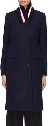 Stella McCartney Stripe ribbed collar wool twill coat