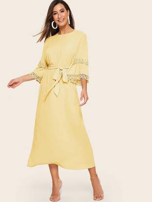 Shein Guipure Lace Detail Keyhole Back Belted Dress